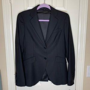 Theory black wool double button blazer size 10